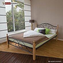 Homestyle4u 1251 Metallbett 140x 200 Schwarz mit Lattenrost Doppelbett 140 x 200 Bett Metall mit Holzpfosten Natur Bettgestell 140x200 Bettrahmen Schlafzimmer 815
