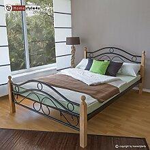 Homestyle4u 1263 Metallbett 180x 200 Schwarz mit Lattenrost Doppelbett 180 x 200 Bett Metall mit Holzpfosten Natur Bettgestell 180x200 Bettrahmen Schlafzimmer 803