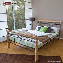 Homestyle4u 1269, Metallbett 160 x 200 Mit Lattenrost, Bettgestell Metall, Pfosten Holz Natur