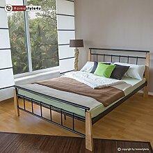 Homestyle4u 1275 Metallbett 140x 200 Schwarz mit Lattenrost Doppelbett 140 x 200 Bett Metall mit Holzpfosten Natur Bettgestell 140x200 Bettrahmen Schlafzimmer 5072