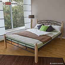 Homestyle4u 1332, Metallbett 180 x 200 Mit Lattenrost, Bettgestell Metall, Pfosten Holz Natur