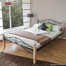 Homestyle4u 1344 Metallbett 140x 200 Schwarz mit Lattenrost Doppelbett 140 x 200 Bett Metall mit Holzpfosten Natur Bettgestell 140x200 Bettrahmen Schlafzimmer 920