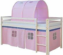 Homestyle4u 1480, Kinder Hochbett mit Leiter, Tunnel, Vorhang Rosa, Massivholz Kiefer Weiß, 90x200 cm