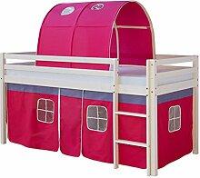 Homestyle4u 1482, Kinder Hochbett mit Leiter, Tunnel, Vorhang Pink, Massivholz Kiefer Weiß, 90x200 cm