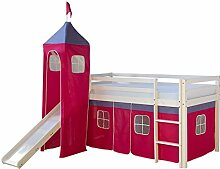 Homestyle4u 1553, Kinder Hochbett Mit Rutsche, Leiter, Turm, Vorhang Pink, Massivholz Kiefer Weiß, 90x200 cm