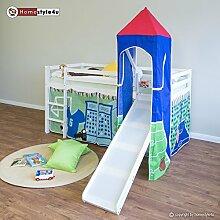 Homestyle4u 1555, Kinder Hochbett mit Rutsche, Leiter, Turm, Vorhang Blau Grün, Massivholz Kiefer Weiß, 90x200 cm