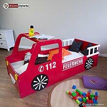 Homestyle4u 1583, Kinderbett, Motiv Feuerwehr, Holz Rot Weiß, 90x200 cm