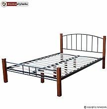 Homestyle4u 1607 Metallbett 160x 200 Schwarz mit Lattenrost Doppelbett 160 x 200 Bett Metall mit Holzpfosten Braun Bettgestell 160x200 Bettrahmen Schlafzimmer 917