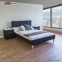 Homestyle4u 1731 Polsterbett 160 x 200 Doppelbett Stoffbett Bettgestell mit Rückenlehne & Lattenrost Bett Schwarz