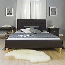 Homestyle4u 1833 Polsterbett 140 x 200 cm Doppelbett Kunstleder Bettgestell mit Rückenlehne & Lattenrost Bett Braun