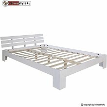 Homestyle4u 1835 Holzbett 160x200 cm Doppelbett Weiß mit Lattenrost Futonbett 160 x 200 Bettgestell Bett aus Kiefer Massivholz