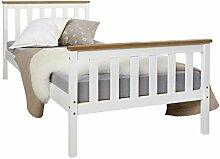 Homestyle4u 1842, Holzbett 90x200 cm weiß, Bett