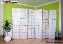 Homestyle4u 280 Paravent Raumteiler 6 teilig, Holz