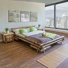 Homestyle4u 32 Bambusbett Futonbett Naturbett 140 x 200 cm in braun Doppelbett Bettgestell inkl. Lattenrost aus Bambus Rahmenhöhe 35 cm mit Kopfteil