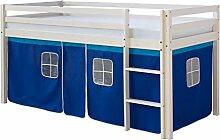 Homestyle4u 519, Kinder Hochbett Mit Leiter, Vorhang Blau, Massivholz Kiefer Weiß, 90x200 cm