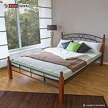 Homestyle4u 548, Metallbett mit Lattenrost, Bettgestell Metall, 140 x 200, Pfosten Holz Braun