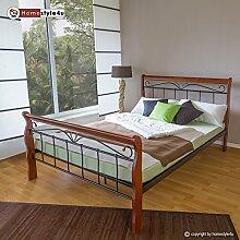 Homestyle4u 550 Metallbett 140x 200 Schwarz mit Lattenrost Doppelbett 140 x 200 Bett Metall mit Holzpfosten Braun Bettgestell 140x200 Bettrahmen Schlafzimmer 1088
