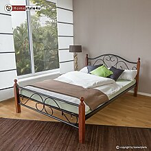 Homestyle4u 589 Metallbett 160x 200 Schwarz mit Lattenrost Doppelbett 160 x 200 Bett Metall mit Holzpfosten Braun Bettgestell 160x200 Bettrahmen Schlafzimmer 815