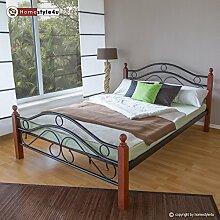 Homestyle4u 600 Metallbett 140x 200 Schwarz mit Lattenrost Doppelbett 140 x 200 Bett Metall mit Holzpfosten Braun Bettgestell 140x200 Bettrahmen Schlafzimmer 803