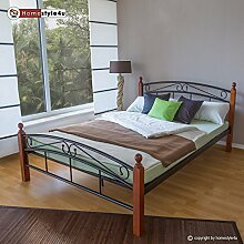 Homestyle4u 603 Metallbett 140x 200 Schwarz mit Lattenrost Doppelbett 140 x 200 Bett Metall mit Holzpfosten Braun Bettgestell 140x200 Bettrahmen Schlafzimmer 8077