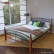 Homestyle4u 604 Metallbett 160 x 200 Schwarz mit Lattenrost Doppelbett 160 x 200 Bett Metall mit Holzpfosten Braun Bettgestell 160x200 Bettrahmen Schlafzimmer 8077