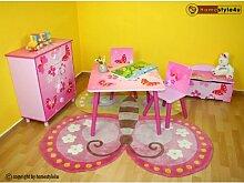 Homestyle4u 643 Kindersitzgruppe Schmetterling Blumen, Kindermöbel Set aus 1 Kindertisch 2 Stühle, Holz Pink Rosa