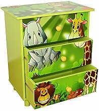 Homestyle4u 646 Kinderkommode Kinderschrank Dschungel mit 3 Schubladen Fächer aus Holz in Grün für das Kinderzimmer B x H x T: 48 cm x 57 cm x 30 cm Sideboard für Spielzeug Bücher Aufbewahrung