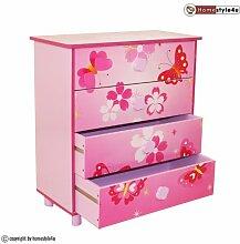 Homestyle4u 647 Kinderkommode Kinderschrank Schmetterling mit 4 Schubladen Fächer aus Holz in Pink Rosa für Kinderzimmer B x H x T: 60 cm x 67 cm x 30 cm Sideboard für Spielzeug Bücher Aufbewahrung