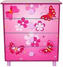 Homestyle4u 647 Kinderkommode Schmetterling Blumen