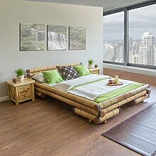 Homestyle4u 700 Bambusbett Futonbett Naturbett 200 x 200 cm in natur Doppelbett Bettgestell inkl. Lattenrost aus Bambus Rahmenhöhe 35 cm mit Kopfteil