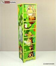 Homestyle4u 770 Kinderkommode Dschungel Tiere, Kinderschrank mit 7 Schubladen, Höhe 86 cm, Holz Grün