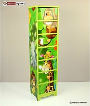 Homestyle4u 770 Kinderkommode Kinderschrank Dschungel mit 7 Schubladen Fächer aus Holz in Grün für das Kinderzimmer B x H x T: 23 cm x 86 cm x 18 cm Sideboard für Spielzeug Bücher Aufbewahrung