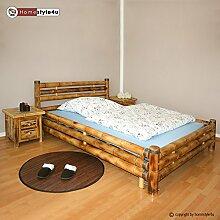 Homestyle4u 879 Bambusbett Futonbett Naturbett 140 x 200 cm in braun Doppelbett Bettgestell inkl. Lattenrost aus Bambus Rahmenhöhe 35 cm mit Kopfteil
