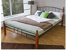 Homestyle4u 986, Metallbett 180x200 Schwarz Braun,