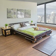 Homestyle4u Bambusbett Futonbett Bambus Bett 140 x 200 cm in dunkelbraun Doppelbett Bettgestell inkl. Lattenros