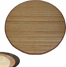 Homestyle4u Bambusteppich Bambusmatte Teppich Bambus 180 cm rund braun