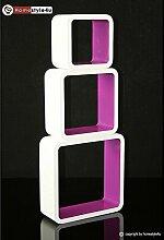 Homestyle4u Cube Wandregal Regal Bücherregal Hängeregal 3 er Set Retro Design weiss lila