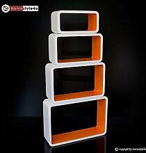 Homestyle4u Cube Wandregal Regal Bücherregal Hängeregal 4 er Set Retro Design weiss orange