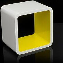 Homestyle4u Cube Wandregal Regal Bücherregal Hängeregal Retro Design weiss Gelb