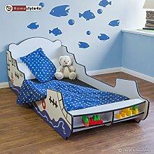Homestyle4u Doppelbett in Schiff Pirat Design, Holz, Weiß, 94,5x 219x 77cm