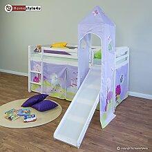 Homestyle4u Hochbett Spielbett Kinderbett Rutsche Turm Vorhang lila Schloss 90x200 Jugend
