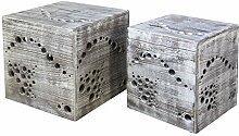 Homestyle4u Hocker Beistelltisch 2er set Holz Würfel Nachttisch grau Cube Couchtisch