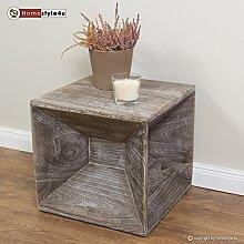 Homestyle4u Hocker Beistelltisch Holz Würfel Nachttisch grau Cube Couchtisch Ablage