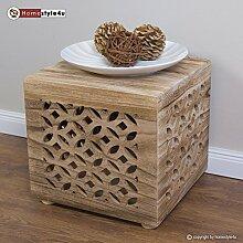 Homestyle4u Hocker Beistelltisch Holz Würfel Nachttisch natur Cube Couchtisch Ablage