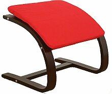 Homestyle4u Hocker Fußhocker in rot dunkelbrauner Rahmen Sitzhocker Sitzwürfel für Schwingsessel Freischwinger Sessel Schaukelstuhl