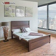 Homestyle4u Holz Doppelbett, Holz,,, holz, braun, 30 x 30 x 30 cm