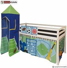 Homestyle4u Kiefer massiv Kinder Etagenbett mit Lamellen Tower Sport, Holz, mehrfarbig, 97x 208x 110cm