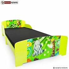 Homestyle4u Kinder Kleinkind Kids Junior Bett mit Dschungel, Holz, mehrfarbig, 30x 30x 30cm