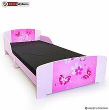 Homestyle4u Kinder Kleinkind Kids Junior Bett mit Schmetterling Motiv, Holz, mehrfarbig, 30x 30x 30cm