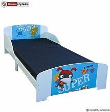 Homestyle4u Kinder Kleinkind Kids Junior Bett mit Welpe Motiv, Holz, mehrfarbig, 96x 203x 60cm